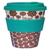 Ecoffee Cup Organic Bamboo Fibre Reusable Coffee Cup Stockholm with Turquoise (order 36 for Trade Outer)
