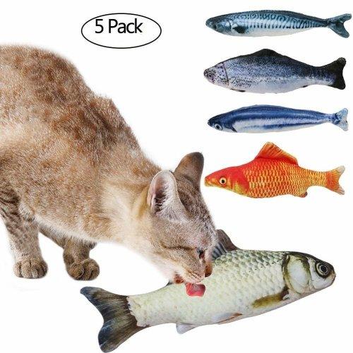 Tacobear 5pcs Catnip Fish Cat Toys Interactive Soft Plush Cat Toys for Indoor Cats Kitten