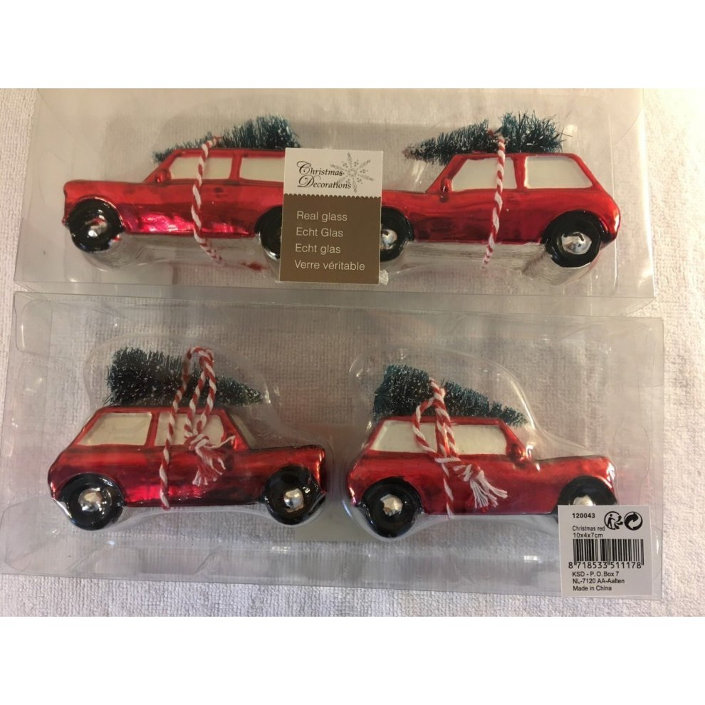 Car Christmas Ornaments.Christmas 4 Hanging Real Glass Car With Trees Baubles Tree Ornaments