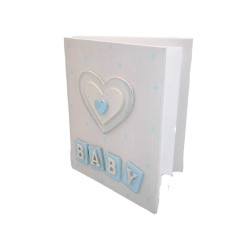 Baby Photo Album Blue & White Wooden Cover F0428B