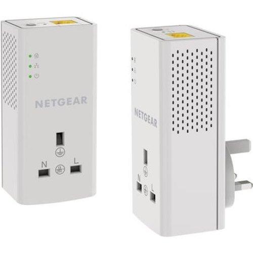 NETGEAR PLP1000-100UKS 1 Port,1000 Mbps, 1 Gigabit Port Powerline Adapter with Extra outlet - Pack of 2