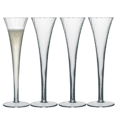 LSA International 200 ml Aurelia Champagne Flute, Clear (Pack of 4)