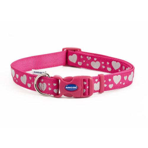 Fashion Adjustable Nylon Collar Pink Reflective Hearts 45-70cm