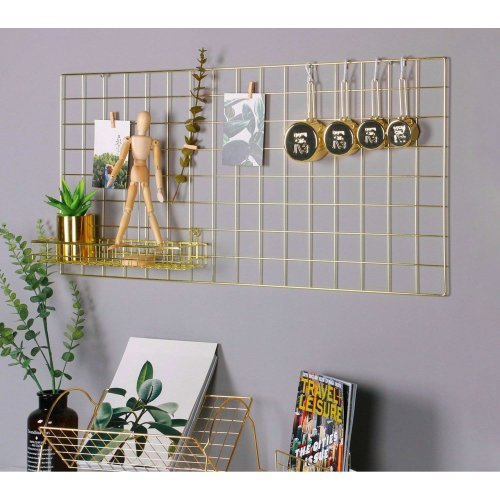 Nugoo Gold Wall Grid Panel for Photo Hanging Display and Wall Decoration Organizer, Multi-Functional Wall Storage Display Grid, 10 Clips and 4...