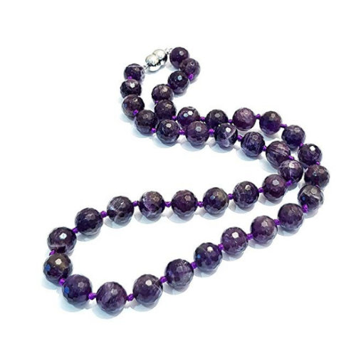 10mm Natural Gemstone Necklace For Women (Faceted Amethyst)