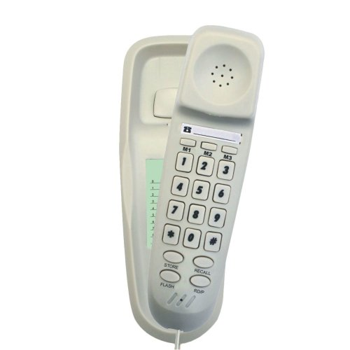 Tel UK 18008W Slim Wall Mountable Corded Telephone Bilbao - White