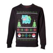 Pokemon Men's Bulbasaur in the Snow Christmas Jumper, Extra Large, Charcoal/Black (Model No. SW504574POK-XL)