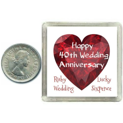 Lucky Sixpence Coin Ruby 40th Wedding Anniversary Gift, great present idea on OnBuy