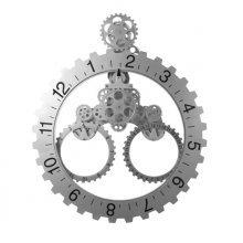 GoedYE 3D metal gear wall clock 55 CM - Classical silver