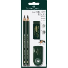Faber-castell 4 Piece Quality Castell 9000 Jumbo Graphite Pencils Blister Card -  fabercastell 9000 jumbo set sketch