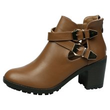 Gina Womens Mid Heel Chunky Cut Out Ankle Boots