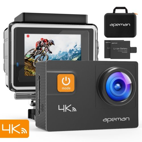 APEMAN Action Camera 4K 20MP WiFi Ultra HD Underwater Waterproof 40M Sports Camcorder with 170 Degree EIS Sony Sensor, 2 Upgraded Batteries,...