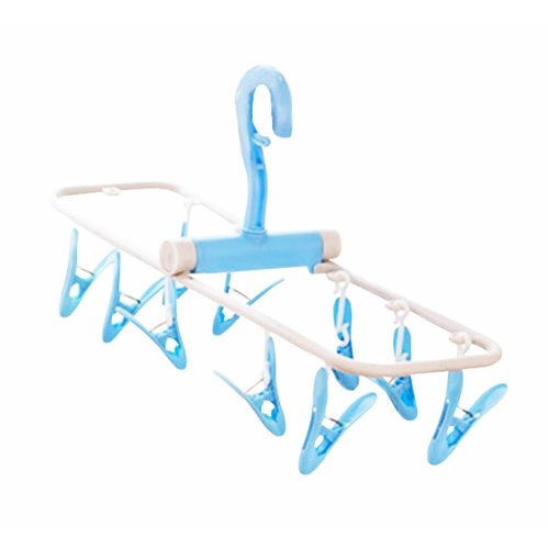 Creative Multifunctional Hanger 10 Clips Foldable Clothing Rack-Blue