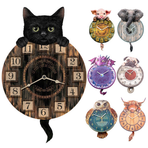 Tickin' Animal Shaped Wall Clock Swinging Tail