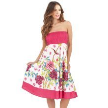 Pistachio, Ladies Two in One Cotton Summer Holiday Skirt Short Dress, Pink 2, Large (UK 16-18)