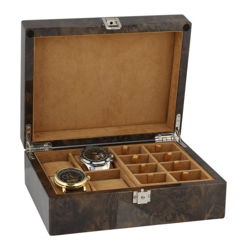 Watch and Cufflink Collectors Box 16 Pair Cufflinks + 4 Wrist Watches in Dark Burl Wood with Solid Lid by Aevitas