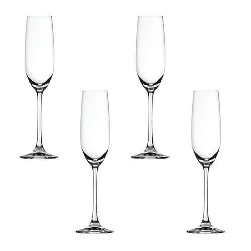 Spiegelau Salute Champagne Flutes, Crystal, Transparent, Set of 4