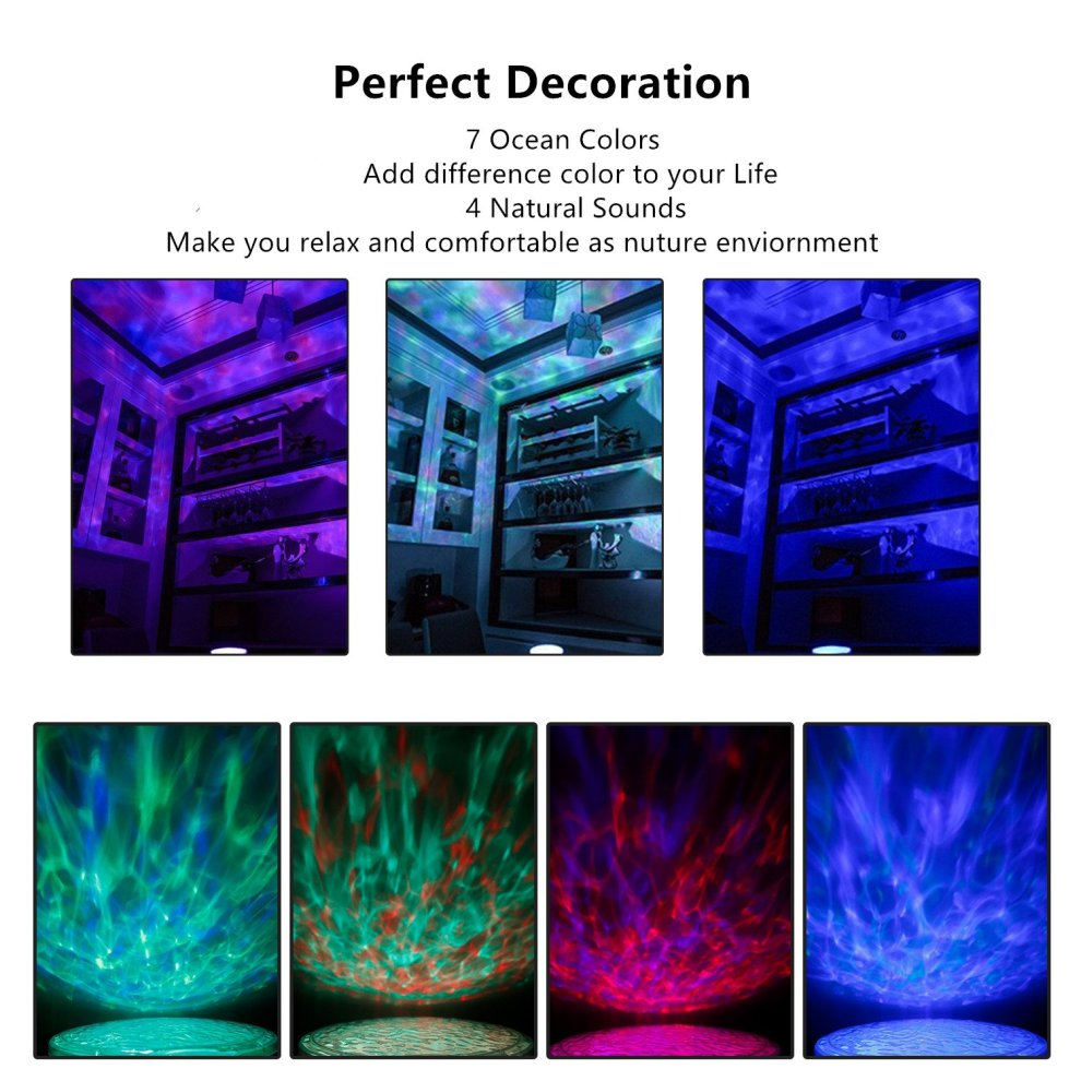Ocean Wave Projector with Remote Control, Unionshopping Night Light Sleep  comfort Hypnosis Lamp with Built-in Music Player Multi-color Decoration