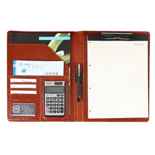 A4 Multi-function Folder Note Book Series Sales Clip Personal-Organizers Brown