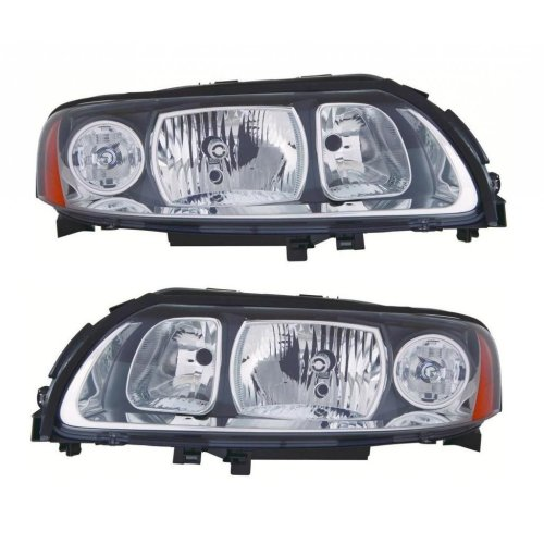 Volvo V70 Mk2 5 2005 10 2007 Headlights Lamps Grey Surround 1 Pair O S N On