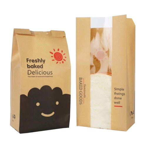 100pcs Paper Bread Bag Food Packaging Storage Bakery Toast Bag with Window - 08 on OnBuy
