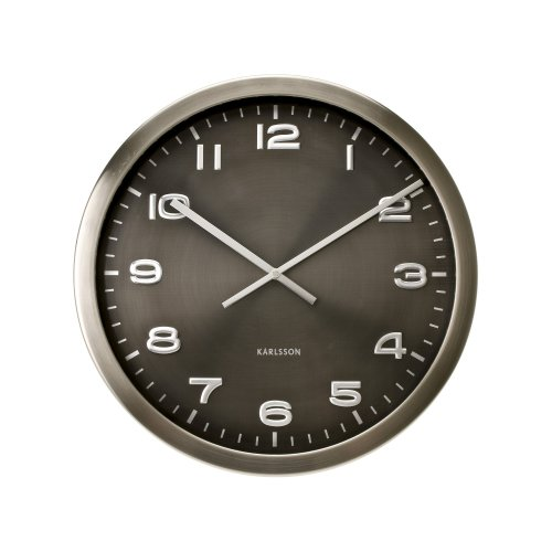 Present Time Karlsson Wall Clock Maxie Steel Polished Gray