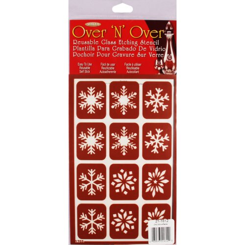 """Over 'N' Over Reusable Stencils 5""""X8""""-Snowflakes"""