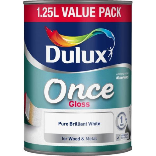 Dulux Once Gloss Pure Brilliant White Paint For Wood & Metal - 1.25L