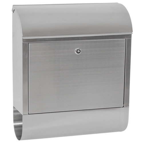 Mailbox with newspaper tube XXL stainless steel - grey