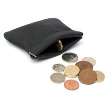 Black Leather Snap Top Purse | Spring Close Coin Pouch