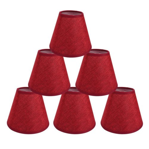 Onepre Lamp Shades Red Color Clip On Light Candle Lampshades For Chandelier Ceiling Pendant Set Of 6