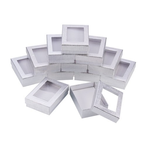 Nbeads 60pcs Silver Gift Boxes Presentation Box With Padding Birthday Gift Box Necklace Box Earring Box Ring Box Cardboard Jewellery Boxes