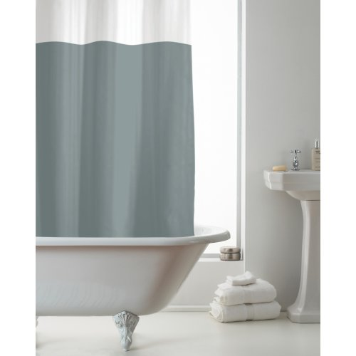 Country Club PEVA Shower Curtain, Grey and Clear