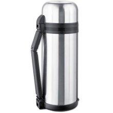 Isosteel Vacuum Flask with Foldable handle/Screw-On Plus Plastic Mug, Silver