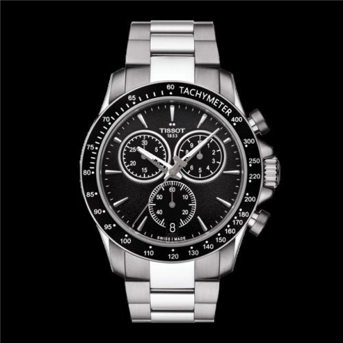 Citizen Eco-Drive Black Stainless Steel Chronograph Mens Watch AW7047-54H
