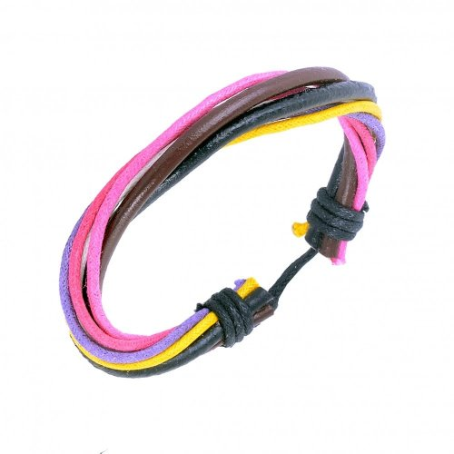 Urban Male Genuine Black Leather Cord Surfer Style Bracelet with Coloured Cotton Strands