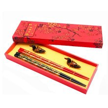 2 Pairs Wooden Chinese Chopsticks Wood Reusable Chop Stick Gift with Case