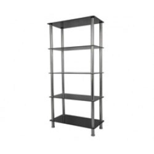 King Black Glass 5 Tier Modern, Organisation Rack, Shelving Shelf Unit, Shelf Width 70cm x 35cm