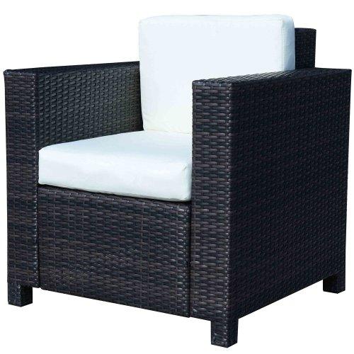 Outsunny Single Cube Aluminum & Rattan Garden Sofa Chair