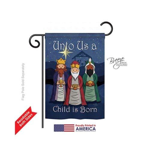 Breeze Decor 64129 Nativity Child Is Born GF 2-Sided Impression Garden Flag - 13 x 18.5 in.