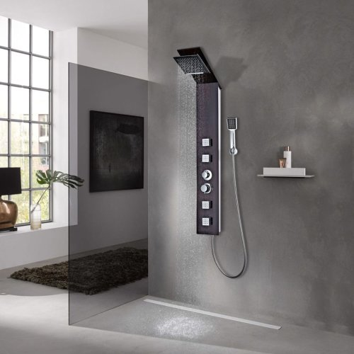vidaXL Shower Panel System Glass Brown Tower Pillar with Massage Jets Bathroom