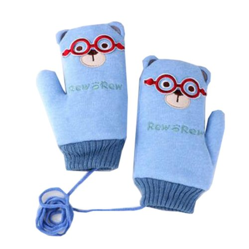 Thicken Double Velvet Kids Gloves Deer Finger Gloves Blue(7-15 Years)