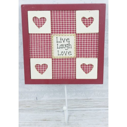 Single Coat Hook Wall Red & Cream F0368