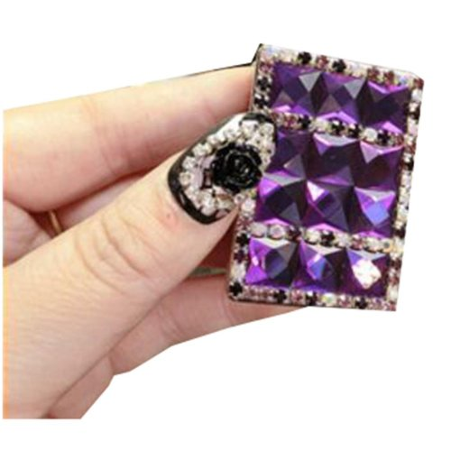 Rechargeable Lighter Stylish Rhinestone Windproof Cigarette Lighters with USB, #04