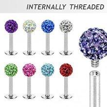 Multi Crystal Disco Ball Ferido Surgical Steel Labret Lip Bar