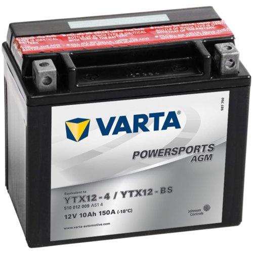 Varta Motorcycle Battery Powersports AGM YTX12-4/YTX12-BS