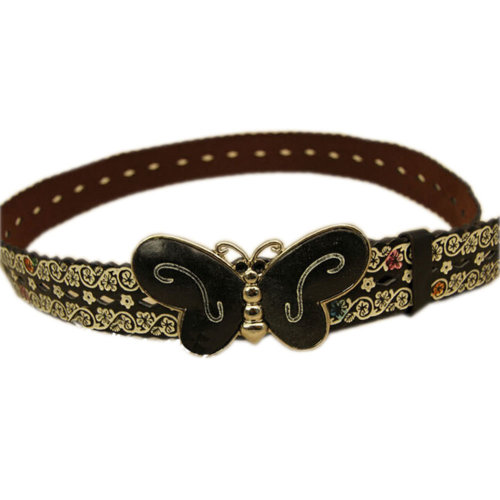 Women Fashion Floral Belt  Decorative Belt Butterfly Belt Buckle [Black]