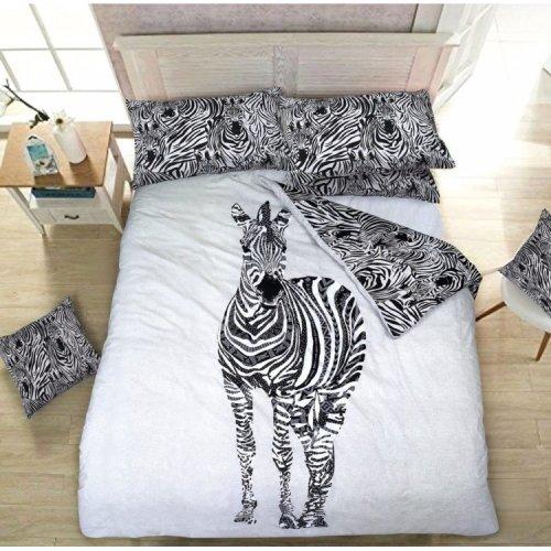 Zebra Animal Print Reversible Duvet Quilt Cover Bedding Set All sizes