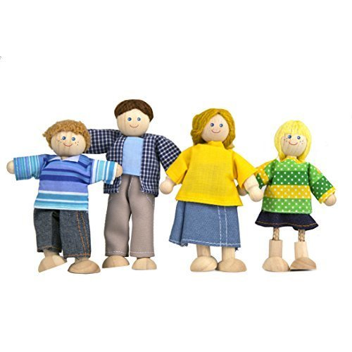 Constructive Playthings Light Skin Posable Doll Family - Clothing Color Vary - Set of 4