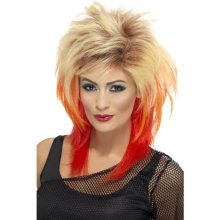 Smiffy's 80's Mullet Wig With Streaks - Blonde/red -  wig 80s blonde mullet red fancy dress 1980s adult smiffys ladies